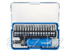 Набор инструментов биты ЗУБР 25626-H17, ЭКСПЕРТ отвертка для точных работ, рукоятка, CR-V, сменные биты, 16 шт, 17 предметов