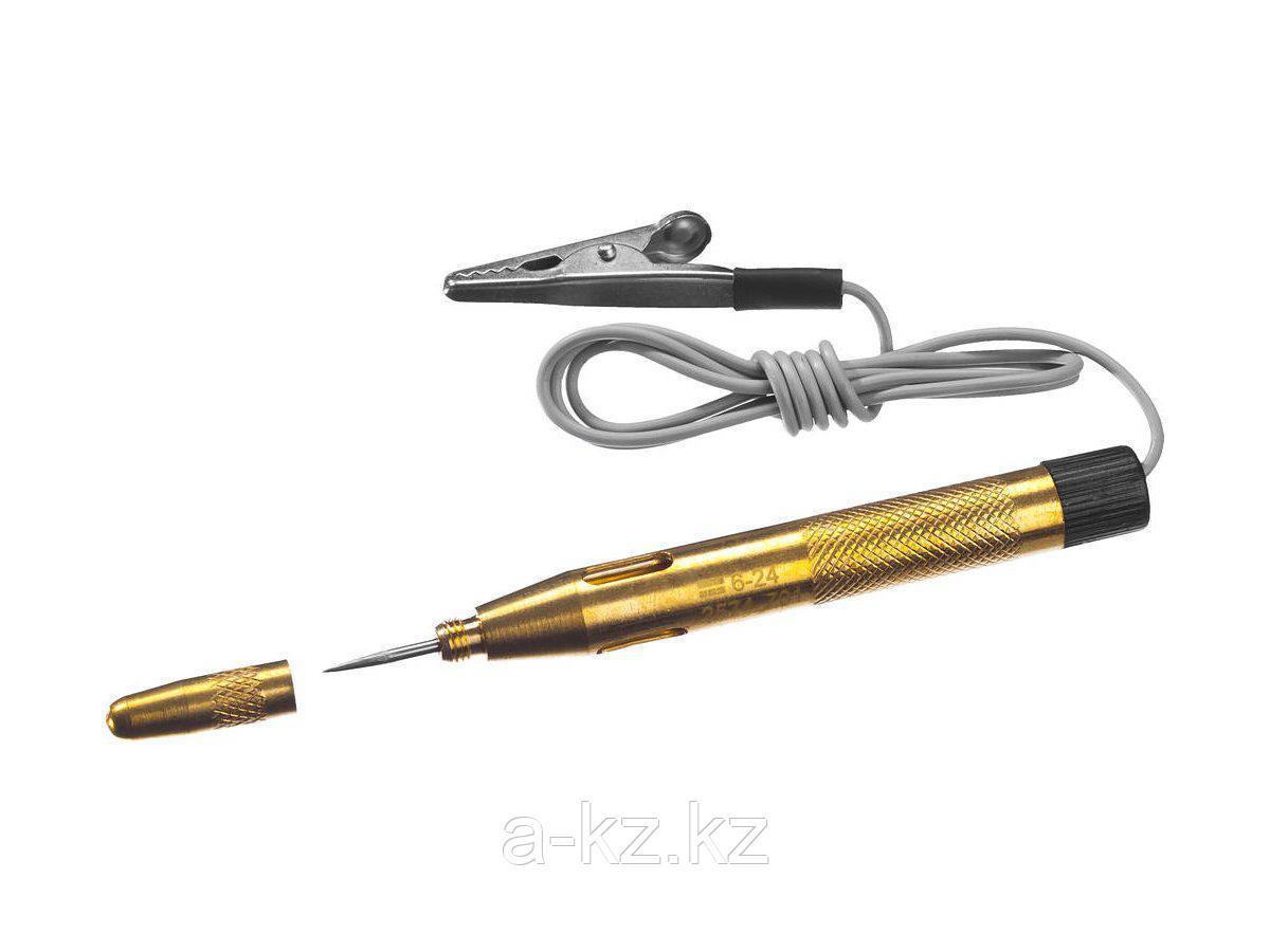 Пробник и тестер напряжения STAYER 2574_z01, MASTER, для автопроводки, латунный, 6 - 24 В, 110 мм