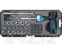 Набор инструментов торцевые головки и биты ЗУБР 25351-H38, ПРОФИ, отвертка - битодержатель с Т-образной рукояткой, насадки, CrMo, рукоятка с отсеком