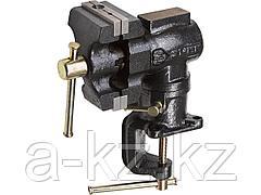 Тиски поворотные слесарные ЗУБР 32480, МАСТЕР, настольные в 2-х плоскостях, с 2 зажимами, 63/37 мм