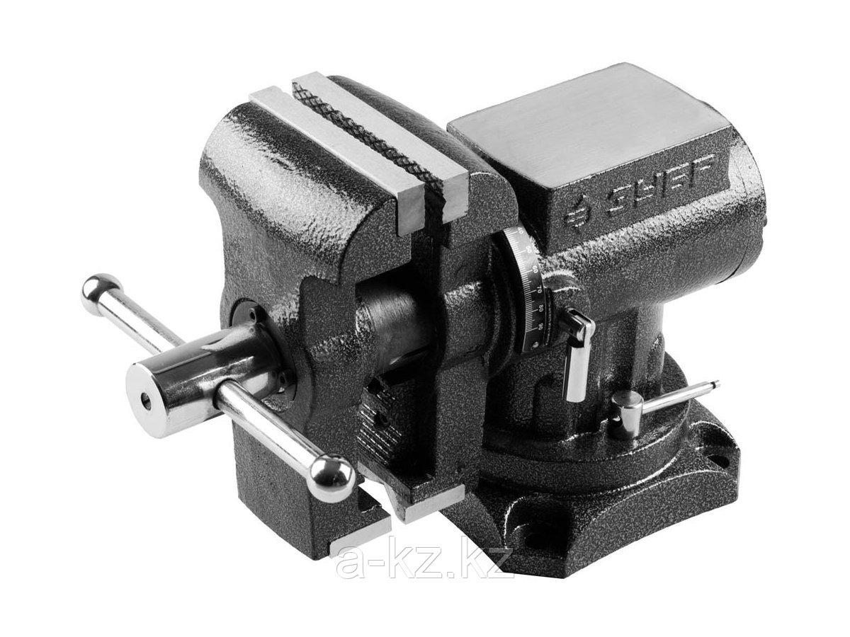 Тиски поворотные слесарные ЗУБР 32712-125, ЭКСПЕРТ, многофункциональные с поворотом в двух плоскостях, 125 мм