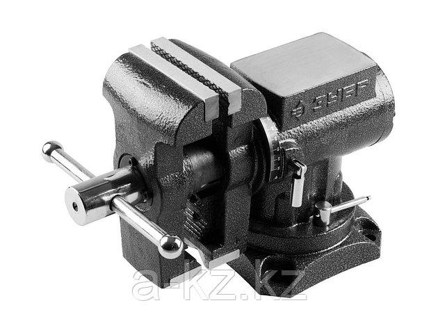 Тиски поворотные слесарные ЗУБР 32712-125, ЭКСПЕРТ, многофункциональные с поворотом в двух плоскостях, 125 мм, фото 2