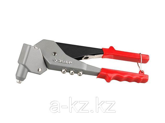 Заклепочник ручной ЗУБР 31195, МАСТЕР поворотный 0-360 градусов, усиленный для алюминиевых и стальных заклепок, 2,4-3,2-4-4,8мм, фото 2