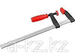 Струбцина ЗУБР 32150-050-250, МАСТЕР, тип F, пластмассовая ручка, стальная закаленная рейка, 50х250 мм