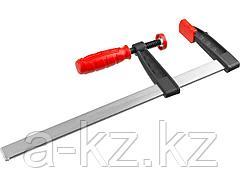 Струбцина ЗУБР 32150-080-300, МАСТЕР, тип F, пластмассовая ручка, стальная закаленная рейка, 80х300 мм