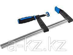 Струбцина ЗУБР 32155-080-300, ПРОФЕССИОНАЛ, тип F, двухкомпонентная ручка, стальная закаленная рейка, 80х300 мм