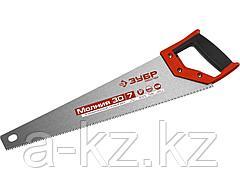 Ножовка универсальная (пила) ЗУБР МОЛНИЯ-3D 450 мм, 7TPI, 3D зуб, точный рез вдоль и поперек волокон, для средних заготовок из всех видов материалов