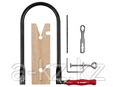 Лобзик ручной набор ЗУБР 15310-H10, МАСТЕР, полотна по дереву, струбцина, затяжной ключ, направляющий упор, 10 предметов