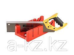 Стусло набор STAYER 15395-35, MASTER, пластмассовое, ножовка, усиленный обушок, стусло MAXI 4 (для заготовок 100 мм х 52 мм) в комплекте с ножовкой