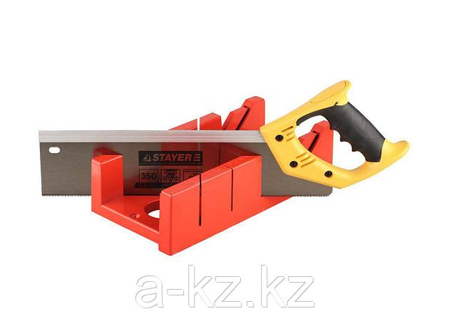 Стусло набор STAYER 15395-35, MASTER, пластмассовое, ножовка, усиленный обушок, стусло MAXI 4 (для заготовок 100 мм х 52 мм) в комплекте с ножовкой, фото 2