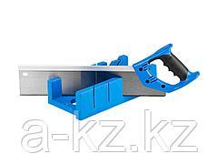 Стусло ЗУБР 15397, ЭКСПЕРТ, пластиковое + ножовка с двухкомпонентной рукояткой, усиленный обушок, для заготовок до 105 х 55 мм, 3 угла запила, ножовка
