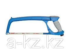 Ножовка по металлу ЗУБР 15776_z01, ЭКСПЕРТ, биметаллическое полотно, цельнометаллическая конструкция, обрезиненная рукоятка, натяжение 100 кг, 300 мм