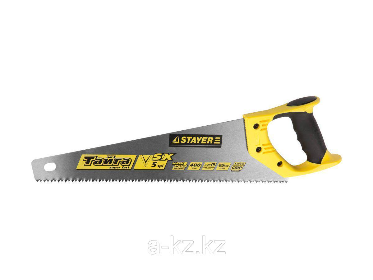 Ножовка по дереву STAYER 15050-40_z01, MASTER ТАЙГА, пластиковая ручка, прямой крупный зуб, 5 TPI (5 мм), 400 мм