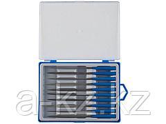 Набор ЗУБР ЭКСПЕРТ Надфили, пластмассовая ручка, насечка 0=драчевая, 100мм, 10шт, 16021-0-H10