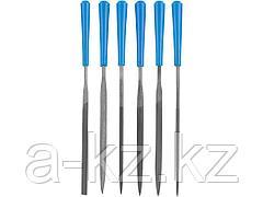Набор ЗУБР ЭКСПЕРТ: Надфили, пластмассовая ручка, насечка 2 = Бархатная, с чехлом, 100мм, 6шт, 16022-2-H6