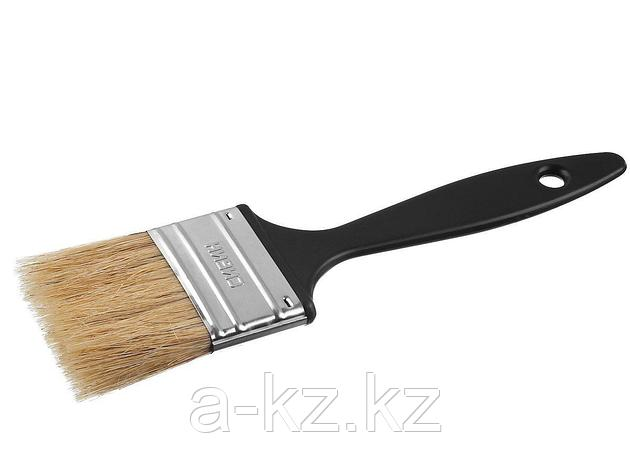 Кисть плоская СИБИН, пластиковая ручка, светлая щетина, 50мм, фото 2