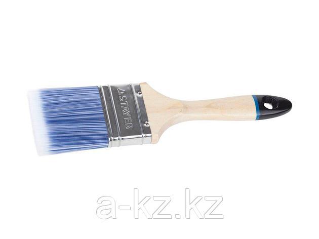 Кисть плоская малярная STAYER 01062-075, EURO, AQUA, для воднодисперсионных и акриловых ЛКМ, искусственная щетина, деревянная ручка, 3/75 мм, фото 2