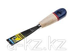 Шпатель строительный металлический STAYER 10012-030, PROFI, c нержавеющим полотном, деревянная ручка, 30мм
