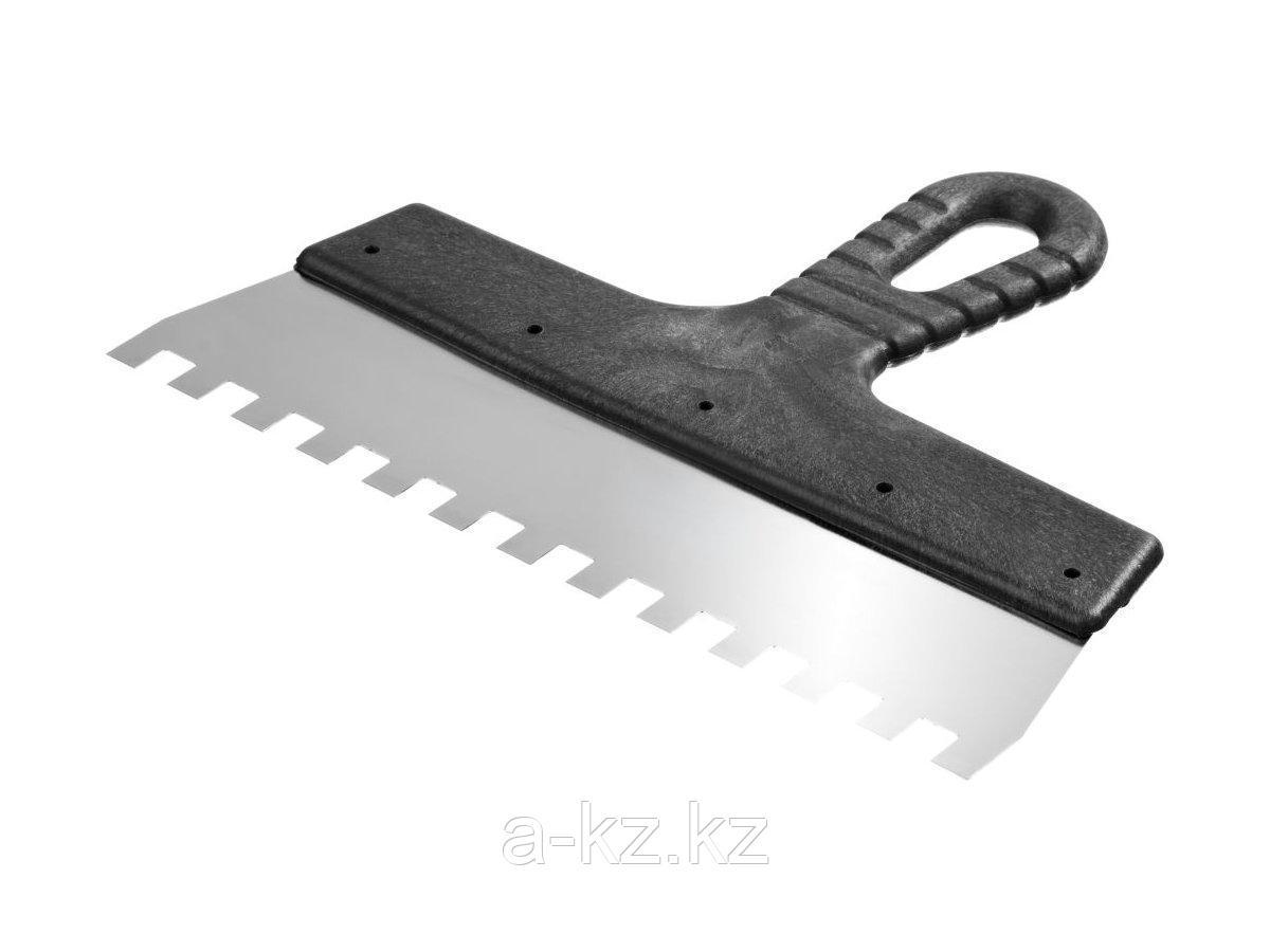 Шпатель зубчатый строительный нержавеющий СИБИН, с пластмассовой ручкой, зуб 10х10мм, 250мм