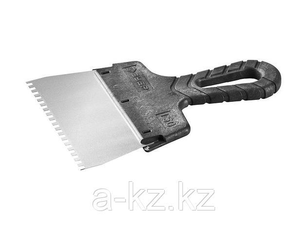 Шпатель зубчатый фасадный ЗУБР 10078-15-04, МАСТЕР, строительный нержавеющий, 150мм, зуб 4х4мм, фото 2