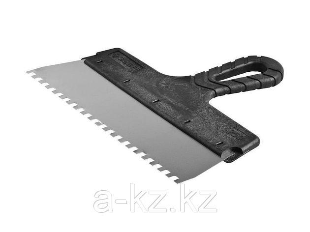 Шпатель зубчатый фасадный ЗУБР 10078-25-06, МАСТЕР, строительный нержавеющий, 250мм, зуб 6х6мм, фото 2