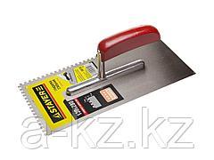 Гладилка STAYER MASTER стальная с деревянной ручкой, зубчатая, 4х4мм, 0801-04
