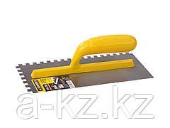 Гладилка STAYER MASTER стальная с пластмассовой ручкой, зубчатая, 8х8мм, 120х280мм, 08012-08