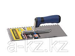 Гладилка STAYER PROFI нержавеющая, зубчатая, 2-хкомп.ручка, 6х6мм, 0805-06