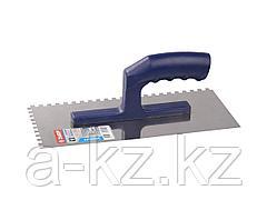 Гладилка ЗУБР ЭКСПЕРТ нержавеющая с пластиковой ручкой, зубчатая, 6х6мм, 0804-06