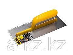 Гладилка STAYER MASTER стальная с пластмассовой ручкой, зубчатая, 6х6мм, 120х280мм, 08012-06
