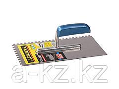 Гладилка STAYER PROFI нержавеющая с деревянной ручкой, зубчатая, 6х6мм, 0802-06