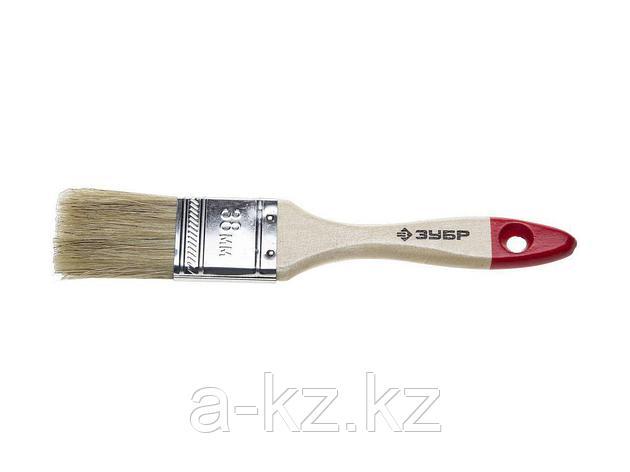 Кисть плоская малярная ЗУБР 4-01001-038, УНИВЕРСАЛ-СТАНДАРТ, натуральная щетина, деревянная ручка, 38 мм, фото 2