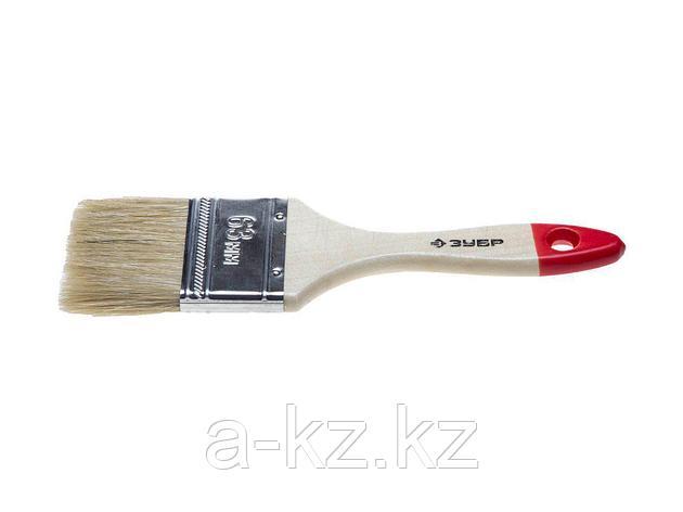 Кисть плоская малярная ЗУБР 4-01001-063, УНИВЕРСАЛ-СТАНДАРТ, натуральная щетина, деревянная ручка, 63 мм, фото 2