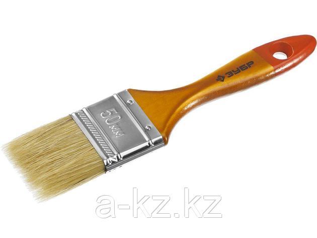 Кисть плоская малярная ЗУБР 4-01003-050, УНИВЕРСАЛ-МАСТЕР, натуральная щетина, деревянная ручка, 50 мм, фото 2