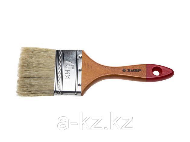 Кисть плоская малярная ЗУБР 4-01003-075, УНИВЕРСАЛ-МАСТЕР, натуральная щетина, деревянная ручка, 75 мм, фото 2