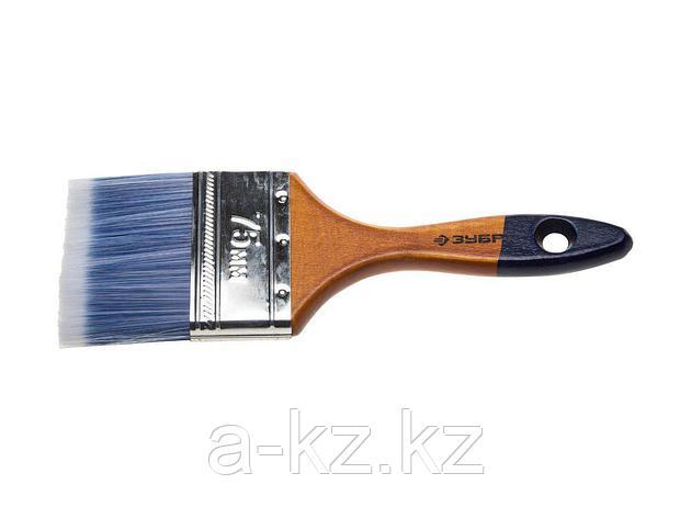 Кисть плоская малярная ЗУБР 4-01007-075, АКВА-МАСТЕР, искусственная щетина, деревянная ручка, 75 мм, фото 2