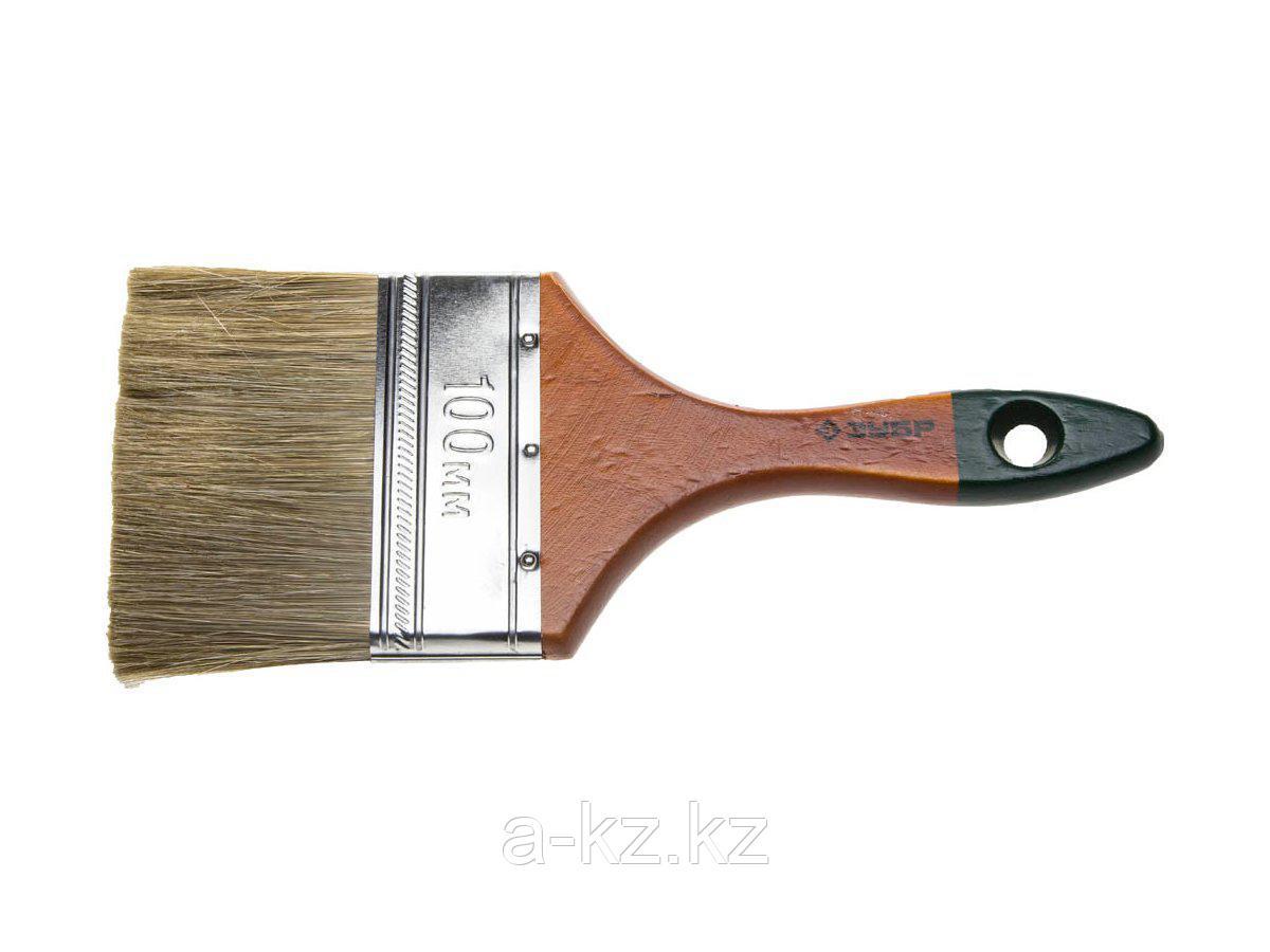 Кисть плоская малярная ЗУБР 4-01009-100, ЛАЗУРЬ-МАСТЕР, смешанная щетина, деревянная ручка, 100 мм