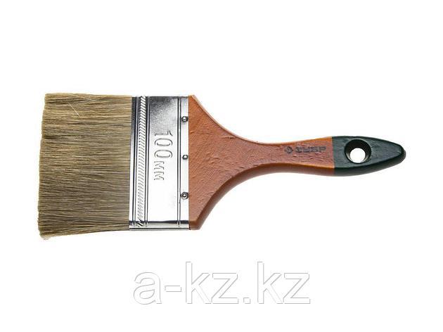 Кисть плоская малярная ЗУБР 4-01009-100, ЛАЗУРЬ-МАСТЕР, смешанная щетина, деревянная ручка, 100 мм, фото 2