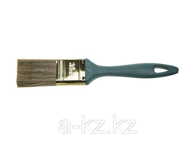 Кисть плоская малярная ЗУБР 4-01014-038, КП-14, смешанная щетина, пластмассовая рукоятка, 38 мм, фото 2