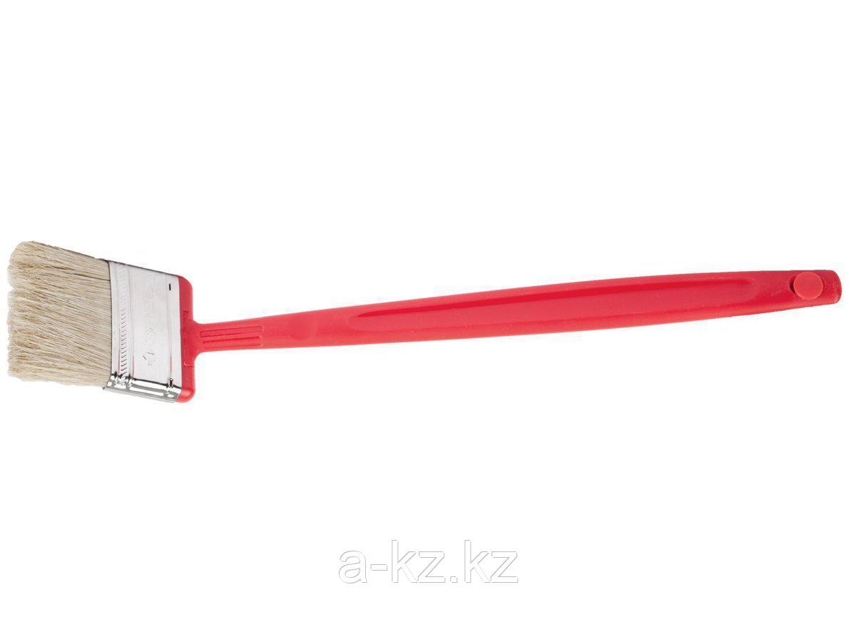 Кисть плоская малярная ЗУБР 4-01052-050, БСГ-52, удлиненная с быстросъемной головой, натуральная щетина, пластмассовая ручка, 50 мм