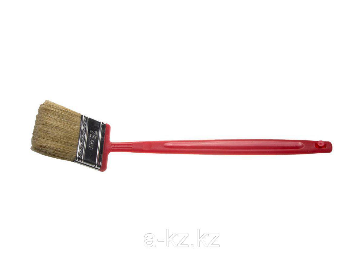 Кисть плоская малярная ЗУБР 4-01052-075, БСГ-52, удлиненная с быстросъемной головой, натуральная щетина, пластмассовая ручка, 75 мм