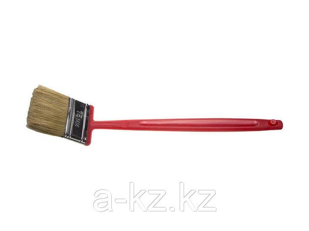 Кисть плоская малярная ЗУБР 4-01052-075, БСГ-52, удлиненная с быстросъемной головой, натуральная щетина, пластмассовая ручка, 75 мм, фото 2