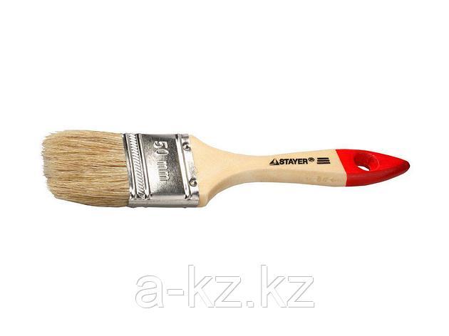 Кисть плоская малярная STAYER 0101-050, UNIVERSAL-STANDARD, светлая натуральная щетина, деревянная ручка, 50 мм, фото 2