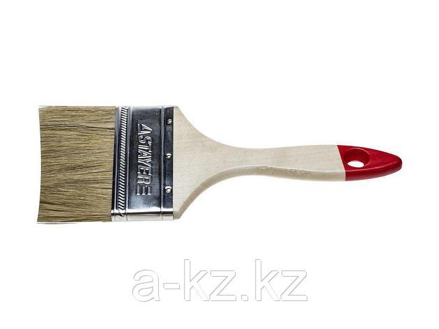 Кисть плоская малярная STAYER 0101-075, UNIVERSAL-STANDARD, светлая натуральная щетина, деревянная ручка, 75 мм, фото 2