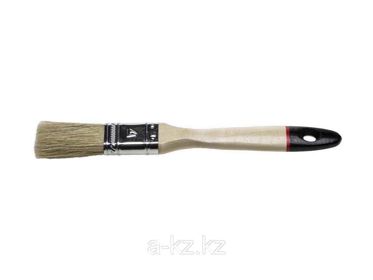 Кисть плоская малярная STAYER 0102-020, UNIVERSAL-EURO, светлая натуральная щетина, деревянная ручка, 20 мм