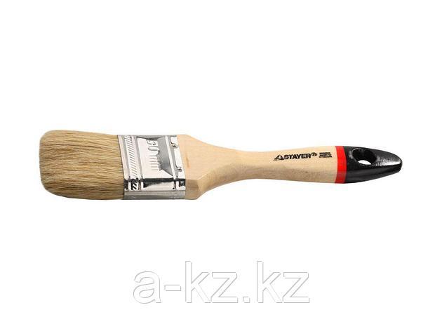 Кисть плоская малярная STAYER 0102-050, UNIVERSAL-EURO, светлая натуральная щетина, деревянная ручка, 50 мм, фото 2