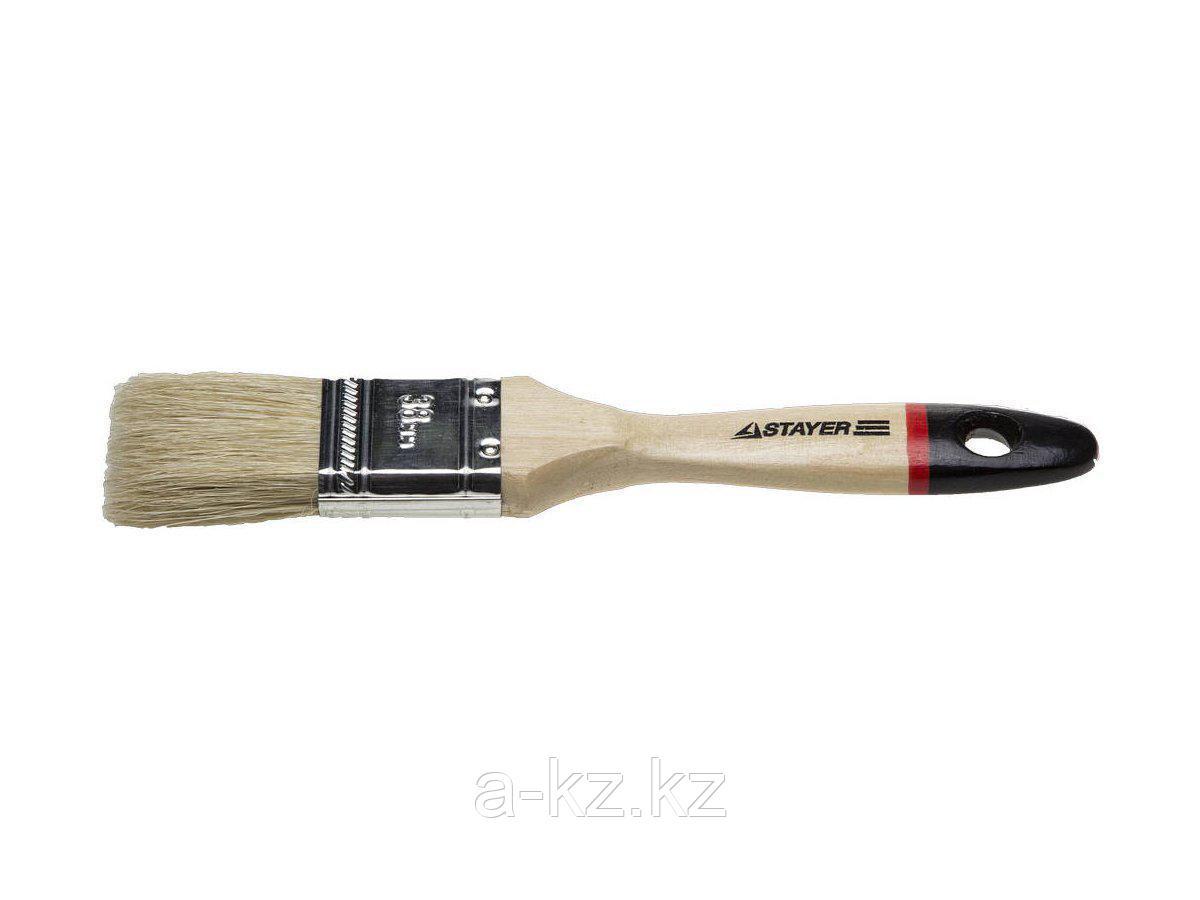 Кисть плоская малярная STAYER 0102-038, UNIVERSAL-EURO, светлая натуральная щетина, деревянная ручка, 38 мм