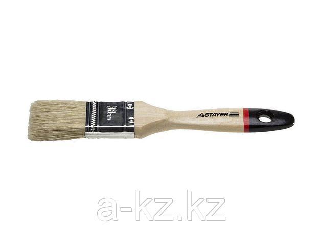 Кисть плоская малярная STAYER 0102-038, UNIVERSAL-EURO, светлая натуральная щетина, деревянная ручка, 38 мм, фото 2
