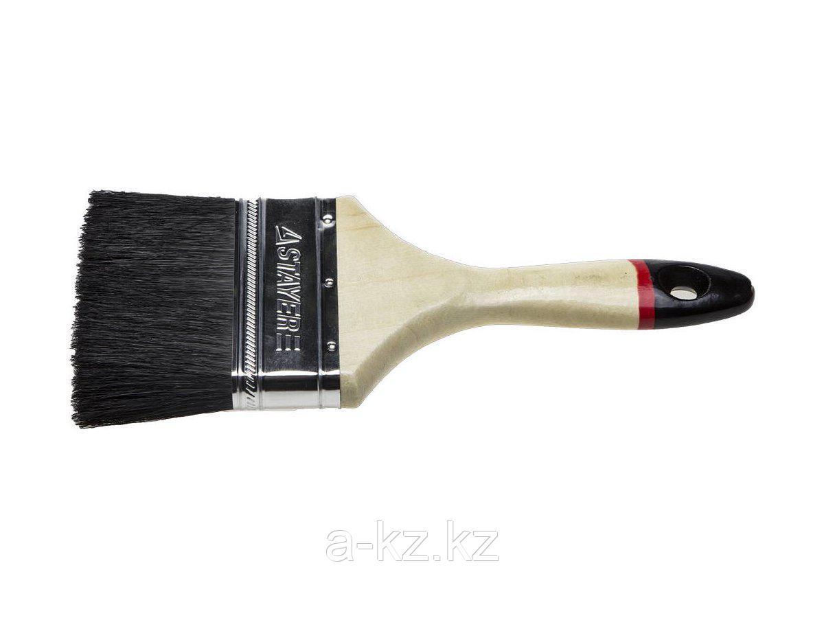 Кисть плоская малярная STAYER 01022-100, UNIVERSAL-EURO, чёрная натуральная щетина, деревянная ручка, 100 мм
