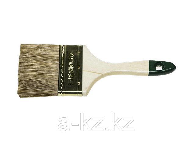 Кисть плоская малярная STAYER 01031-100, LASUR-STANDARD, смешанная (натуральная и искусственная) щетина, деревянная ручка, 100 мм, фото 2